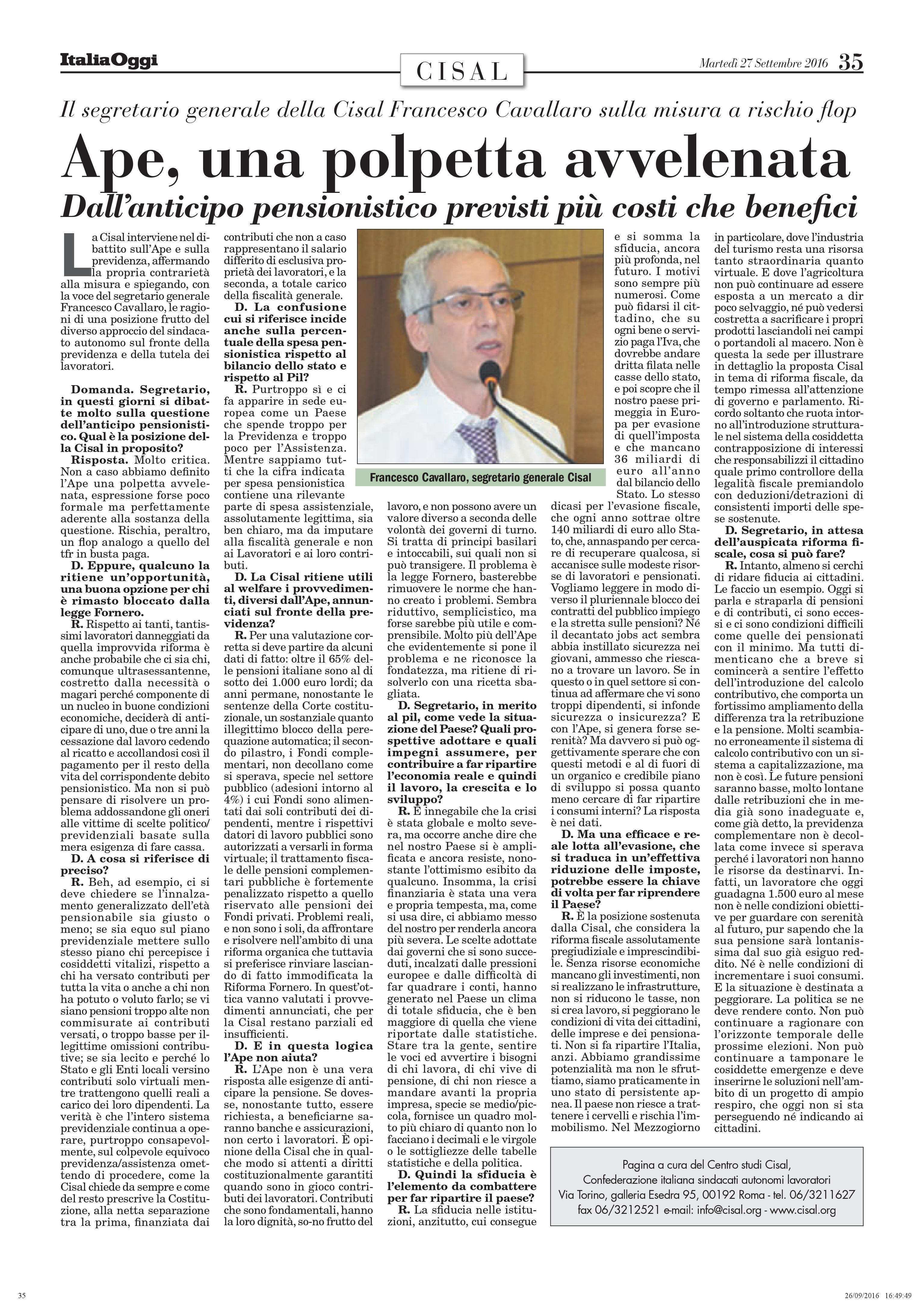Editoriale in formato PDF:27/09/2016 Italia Oggi