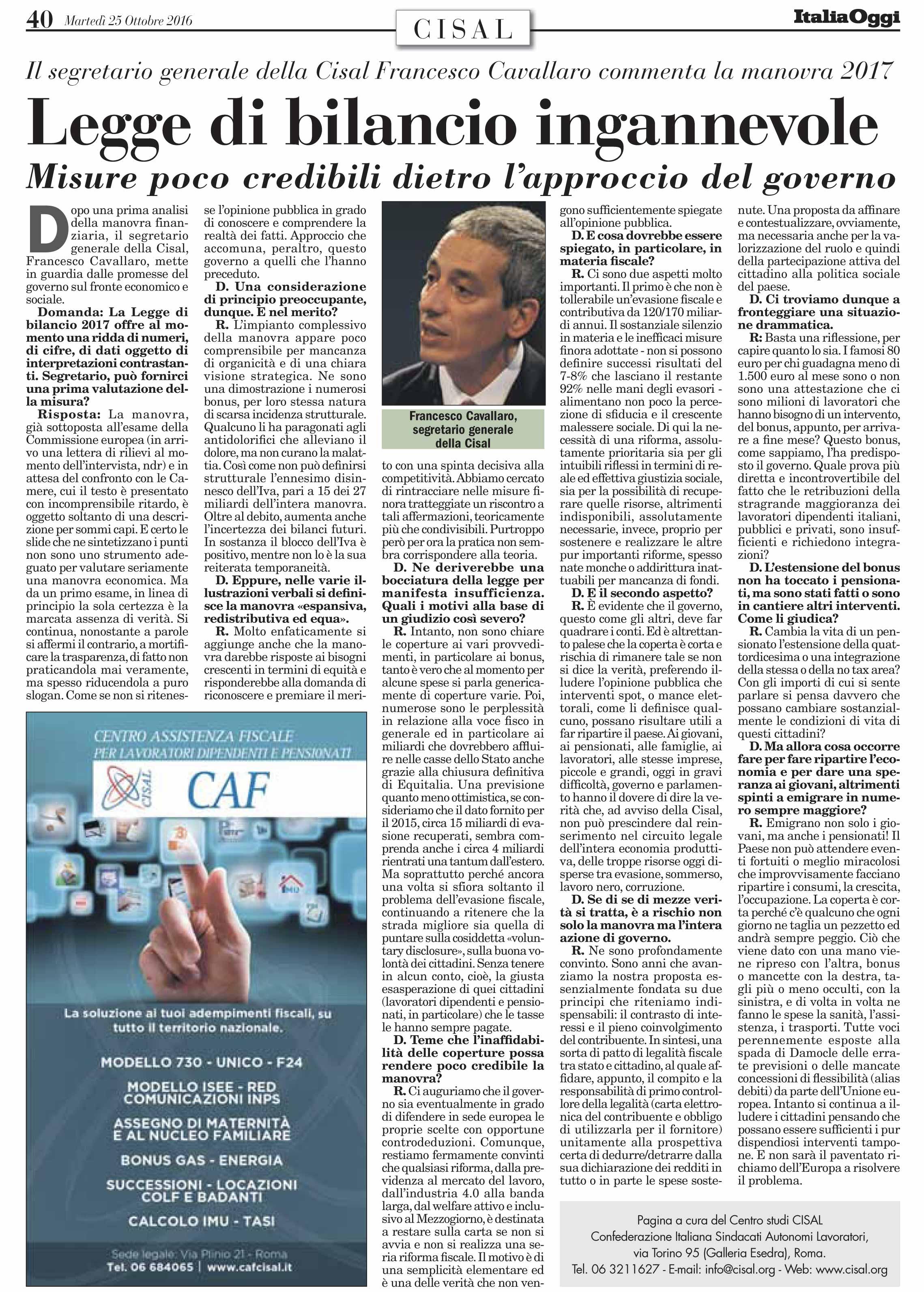 Editoriale in formato PDF:25/10/2016 Italia Oggi
