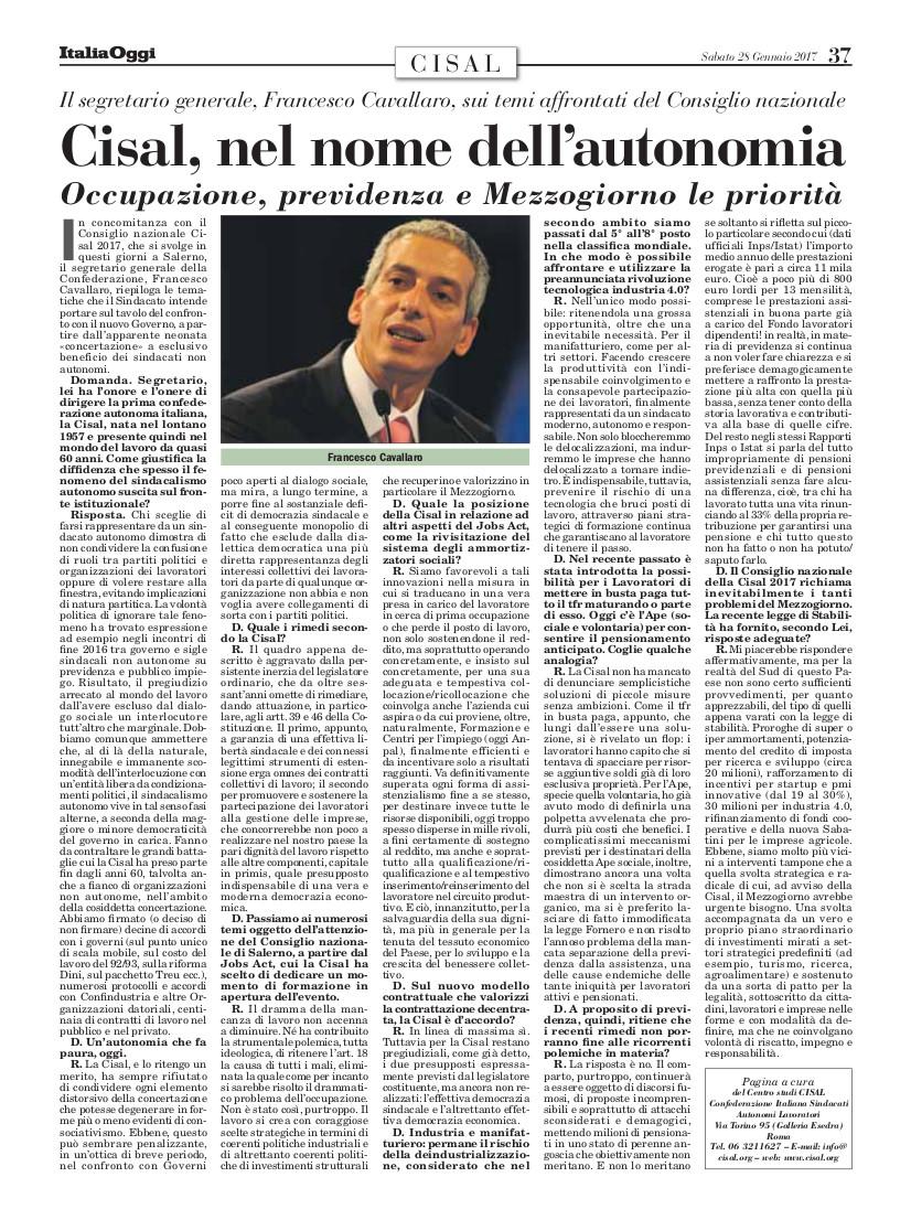 Editoriale in formato PDF:28/01/2017 Italia Oggi