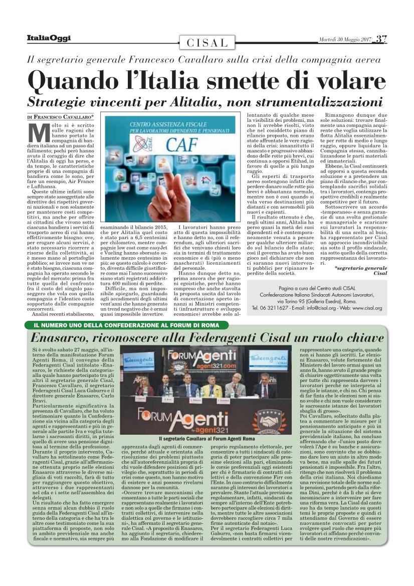 Editoriale in formato PDF:30/05/2017 Italia Oggi