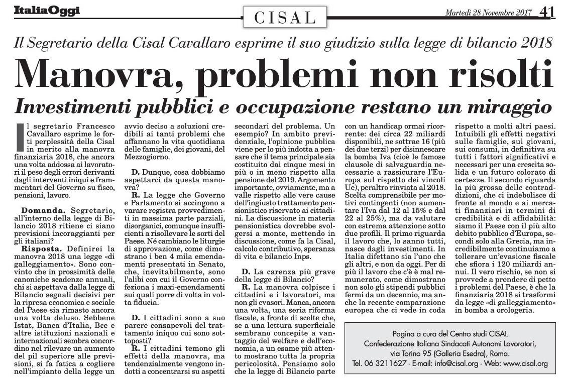 Editoriale in formato PDF:28/11/2017 Italia Oggi