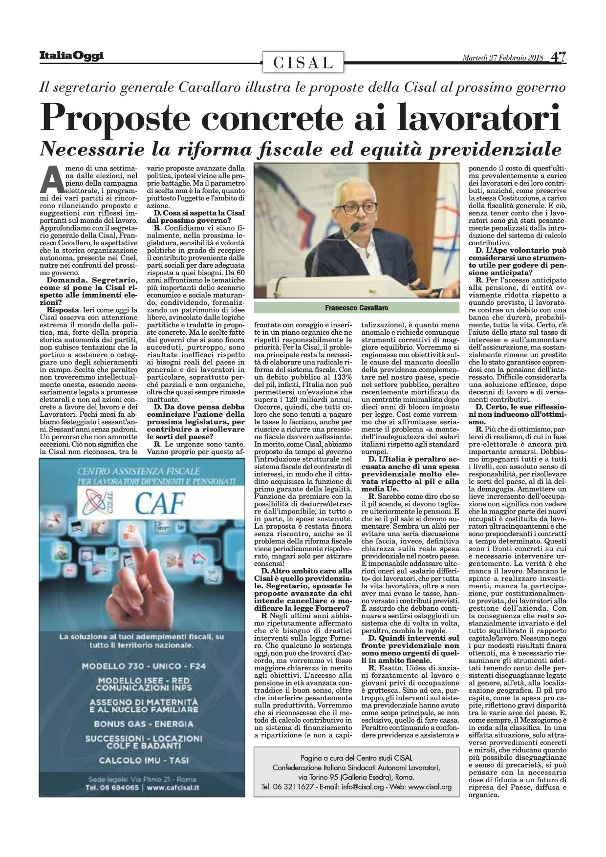 Editoriale in formato PDF:27/02/2018 Italia Oggi