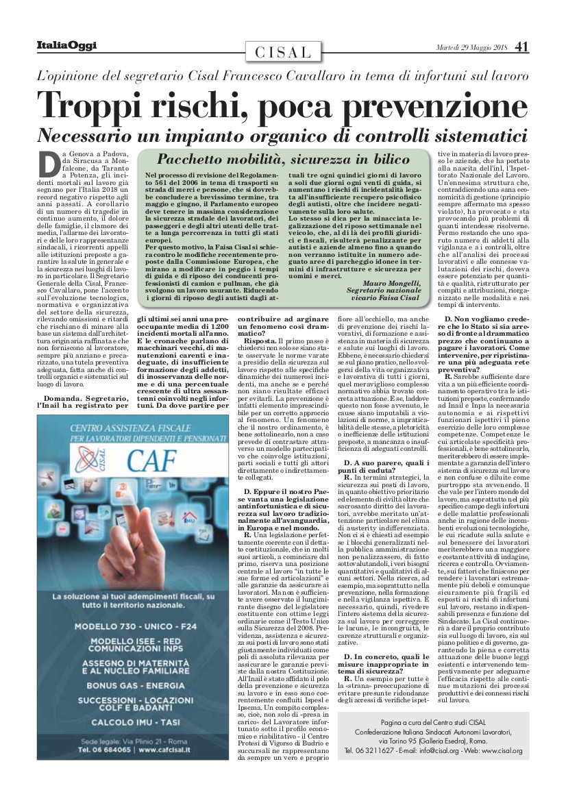 Editoriale in formato PDF:29/05/2018 Italia Oggi