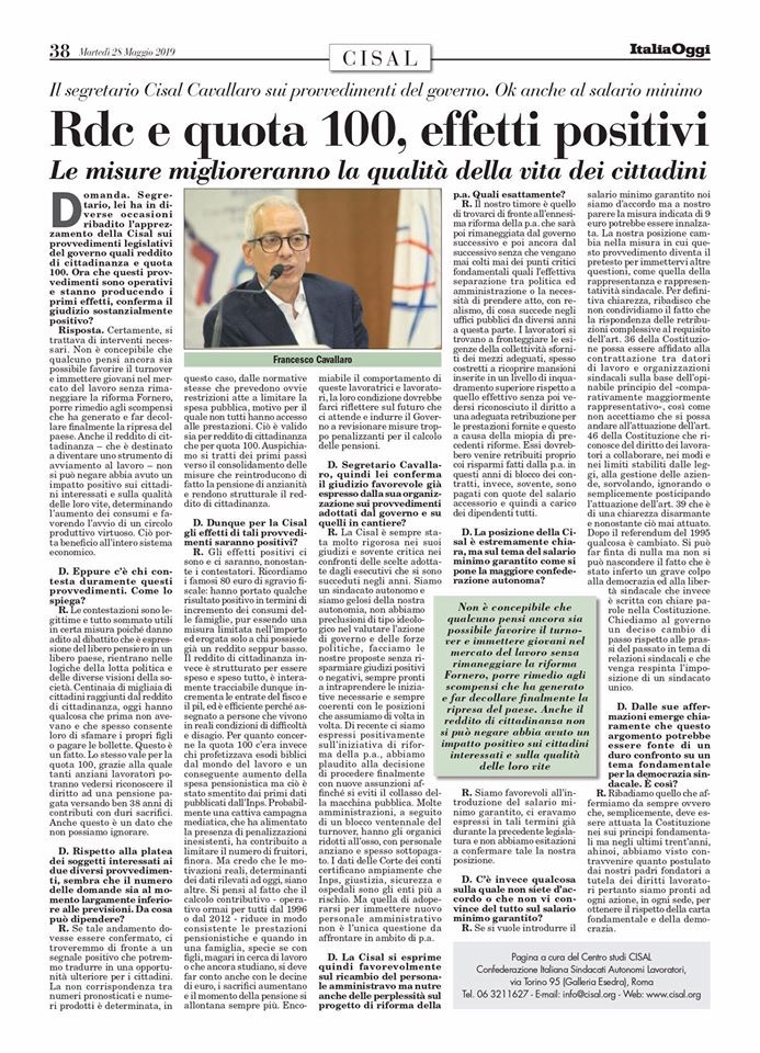 Editoriale in formato PDF:24/05/2019 Italia Oggi